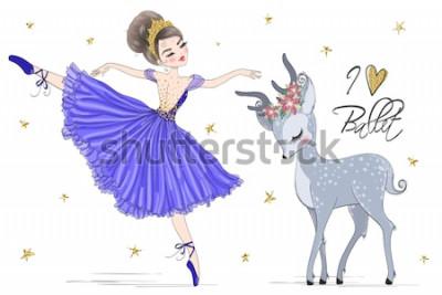 Fototapeta Ręcznie rysowane piękne słodkie baleriny dziewczyna z małym jeleniem. Ilustracji wektorowych.
