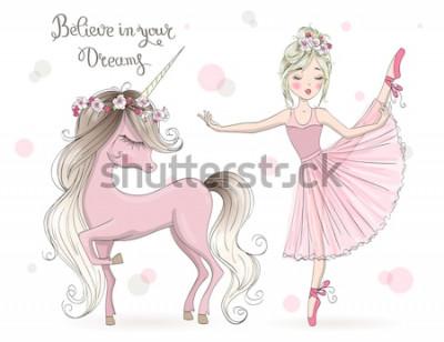 Fototapeta Ręcznie rysowane piękny ładny mały jednorożec z baletnicą. Ilustracji wektorowych.