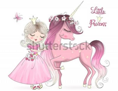 Fototapeta Ręcznie rysowane piękny ładny mały jednorożec z księżniczką. Ilustracji wektorowych.