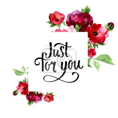 Ręcznie rysowane plakat akwarelą z róż i kwiatów na jej temat. Może być używany do: romantyczna dekoracja, tło dla karty, ślubu lub pozdrowienia.