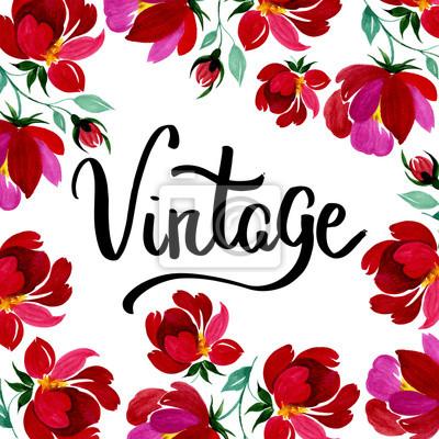 Ręcznie rysowane plakat w stylu vintage z czerwonym kwiatem na nim. Może być używany do: romantyczna dekoracja, tło dla karty, ślubu lub pozdrowienia.