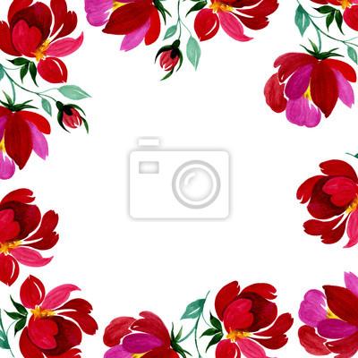 Ręcznie rysowane plakat z kolorowymi kwiatami ilustracji w akwareli. Może być używany do: romantyczna dekoracja, tło dla karty, ślubu lub pozdrowienia.