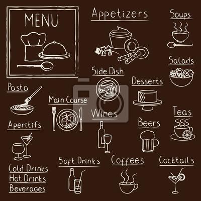 Ręcznie rysowane restauracji menu na tablicy elementów