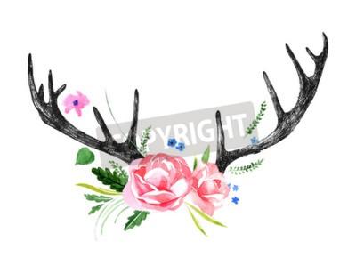 Fototapeta ręcznie rysowane rogów jelenia z akwarela kwiaty