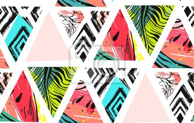 Fototapeta Ręcznie rysowane streszczenie wektor niezwykłe lato czas ozdoba kolaż wzór z arbuza, Azteków i tropikalnych liści palmowych motyw na białym tle