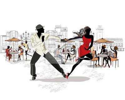 Ręcznie rysowane wektor architektoniczne tło z zabytkowymi budynkami i ludźmi. Romantyczna para w namiętnych tańcach latynoamerykańskich. Festiwal salsy.