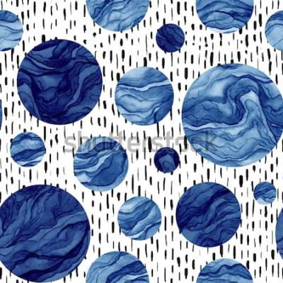Fototapeta Ręcznie rysowane wzór akwarela granatowy koła. Marmurowa Tekstura