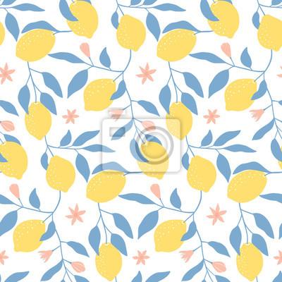 Ręcznie rysowane wzór z świeżych cytryn, liści i kwiatów. Kolorowe letnie tapety. Kolekcja owoców cytrusowych. Tło wektor. Dobry do drukowania.