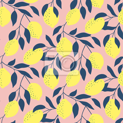 Ręcznie rysowane wzór ze świeżych cytryn. Kolorowe letnie tapety. Kolekcja owoców cytrusowych. Tło wektor. Dobry do drukowania.