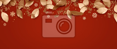 Fototapeta Red Christmas holiday background. Copy space for text with a garland of golden leaves and snowflakes. Design element for Christmas and New Year cards, banners. Top view. 3d illustration.