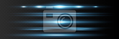 Fototapeta Red horizontal lens flares pack. Laser beams, horizontal light rays.Beautiful light flares. Glowing streaks on dark background. Luminous abstract sparkling lined background.