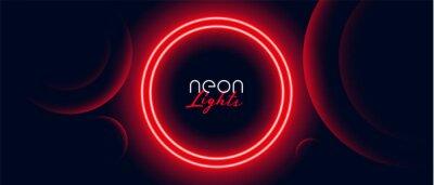 Fototapeta red neon circle light frame banner design
