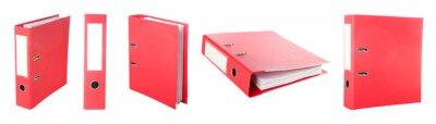 Fototapeta Red office folder on white background