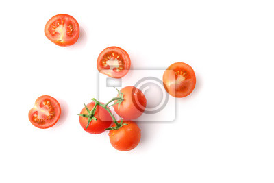 Fototapeta Red ripe cherry tomatoes isolated on white background. Top view