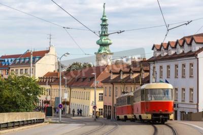 Fototapeta Red tram in Bratislava in a summer day, Slovakia