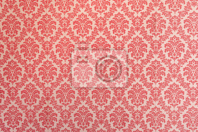 Fototapeta Red wallpaper vintage flock with red damask design on a white background retro vintage style
