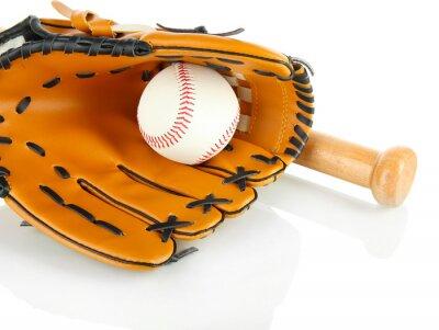 Fototapeta Rękawica Baseball, bat i piłka na białym tle