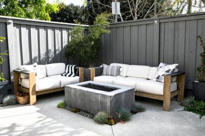 Fototapeta Relaxing outdoor space with couch