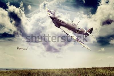 Fototapeta Renderowanie modelu 3D Supermarine Spitfire ww2 w locie, efekt starej nostalgii na Instagramie