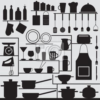 Restauracja i kuchnia podobne symbole na kaflowym tle