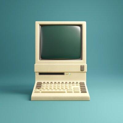 Fototapeta Retro 1980's style beige desktop computer and built in screen and keyboard.  3D illustration.