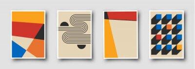 Fototapeta Retro 60s-70s graphic design covers. Cool vintage shape compositions. Trendy colorful bauhaus art templates.