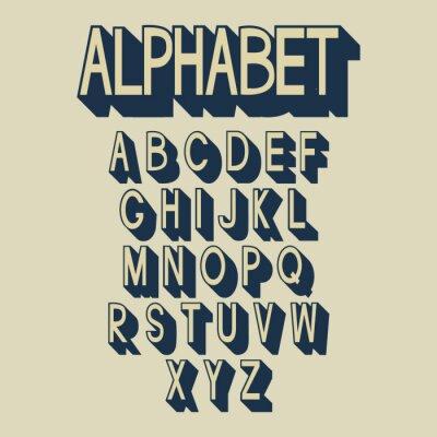 Fototapeta Retro alphabet.
