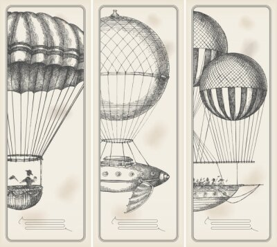 Fototapeta Retro banery - stare maszyny latające