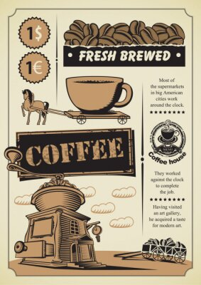 Fototapeta retro banner na temat kawy