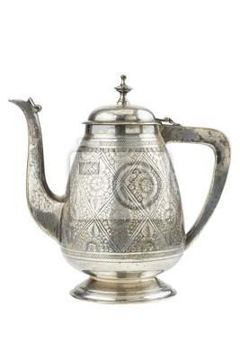 retro czajnik srebrny, dzbanek na białym tle