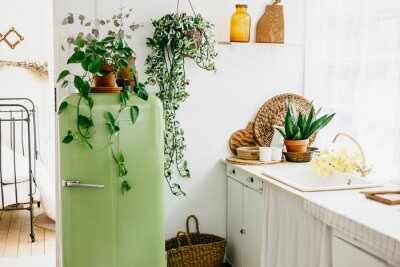 Fototapeta retro design kitchen with white sink and green refrigerator in a wooden rustic house with cute wood decor, concept of a simple country life