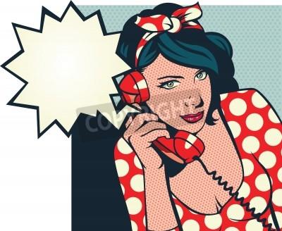 Fototapeta retro dziewczyna rozmawia przez telefon