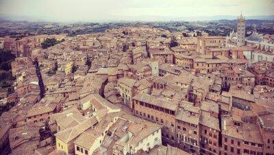 Fototapeta Retro filtrowane panoramiczny widok Siena, Włochy.