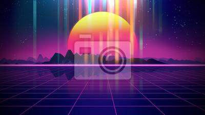 Fototapeta Retro futurystyczna tła 1980s stylowa 3d ilustracja.