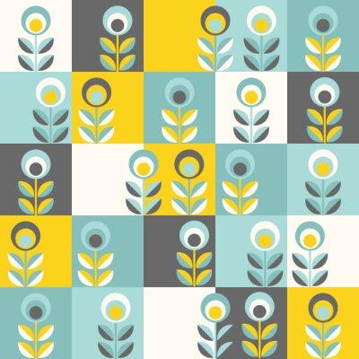 Fototapeta Retro kwiatowy wzór, kwiaty bez szwu geometryczne