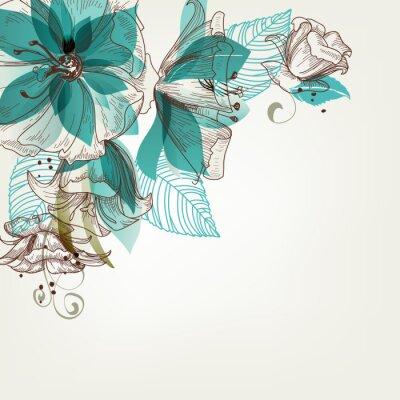 Fototapeta Retro kwiaty ilustracji wektorowych