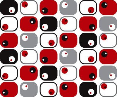 Fototapeta retro miękkie kwadraty i kropki w kolorze czerwonym, czarnym i szarym