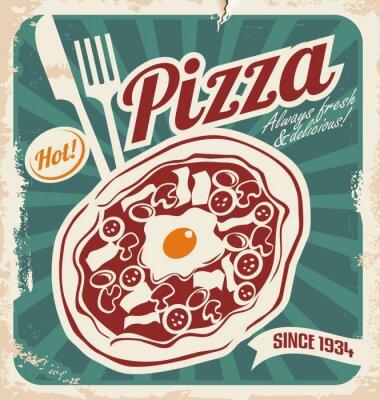 Fototapeta Retro pizzeria plakat na starym papierze tekstur.