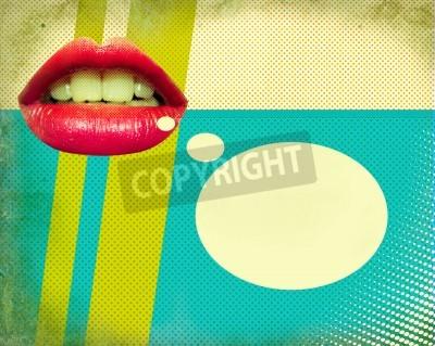 Fototapeta Retro plakat z czerwono usta Pop Art tle ilustracji na starym tekstury papieru