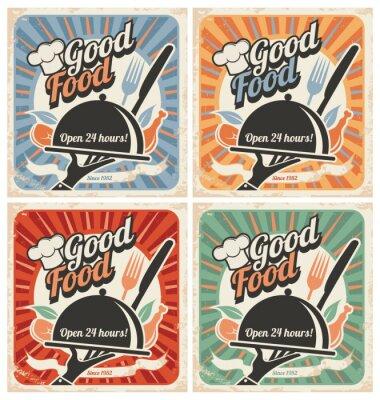 Fototapeta Retro plakaty żywności