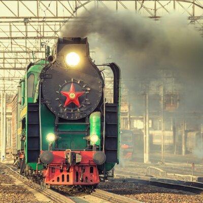 Fototapeta Retro pociąg parowy.