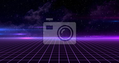 Fototapeta Retro Sci-Fi Background Futuristic Grid landscape of the 80`s. Digital Cyber Surface. Suitable for design in the style of the 1980`s. 3D illustration