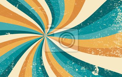 Fototapeta retro starburst sunburst background pattern and grunge textured vintage color palette of orange yellow and blue green in spiral or swirled radial striped vector design