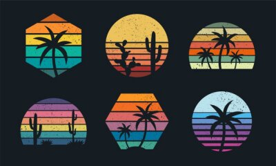 Fototapeta Retro sunset collection 80s style. Striped colorful shapes with tropical palms and cacti