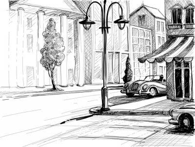 Fototapeta Retro Szkic miasto, ulica, budynki i stare samochody vector illustr