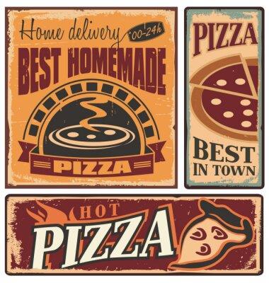 Fototapeta Retro tabliczki metalowe zestaw do włoskiej restauracji lub pizzerii