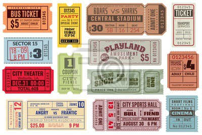 Fototapeta Retro tickets. Vintage cinema ticket concert and festival event, movie theater coupon. Circus show, raffle paper voucher vector set