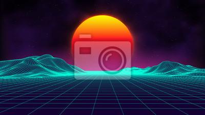 Fototapeta Retro tło futurystyczny krajobraz 1980s stylu. Cyfrowe retro krajobraz powierzchni cyber. Szablon coveru albumu z muzyką retro: słońce, przestrzeń, góry. Lat 80. Retro Sci-Fi Tło Lato Krajobraz.