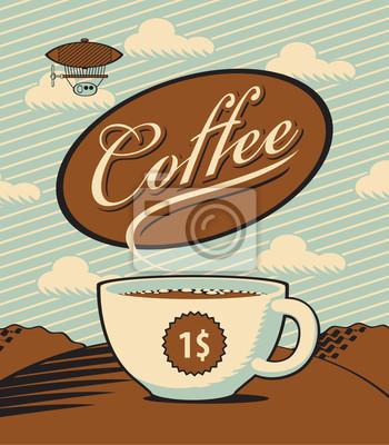 Retro transparent z filiżanką kawy w krajobrazie