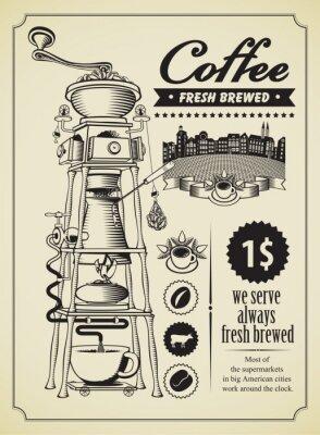 Retro transparent z surrealistycznym młynku do kawy